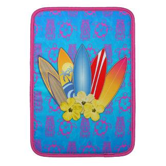 Surfboard and Hibiscus Flowers MacBook Air Sleeve