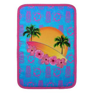 Surfboard and Hibiscus Flowers MacBook Air Sleeves