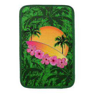 Surfboard and Hibiscus Flowers MacBook Sleeve