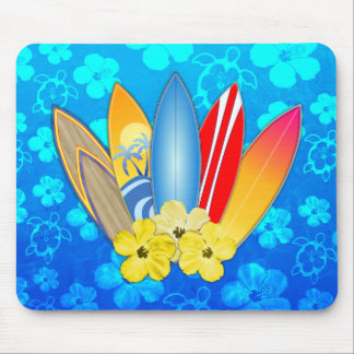 Surfboard and Hibiscus Flowers Mousepad