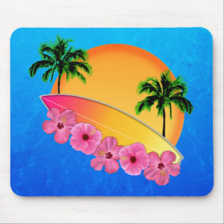 Surfboard and Hibiscus Flowers Mouse Pad