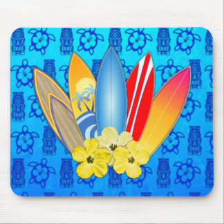 Surfboard and Hibiscus Flowers Mousepads
