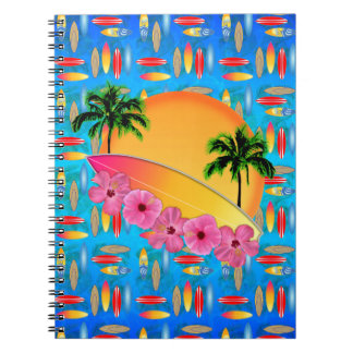 Surfboard and Hibiscus Flowers Notebook
