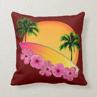 Surfboard and Hibiscus Flowers Pillows