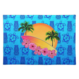 Surfboard and Hibiscus Flowers Placemat