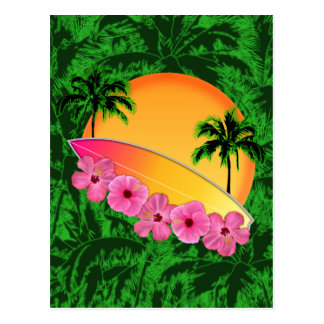 Surfboard and Hibiscus Flowers Postcard
