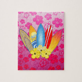 Surfboard and Hibiscus Flowers Jigsaw Puzzles