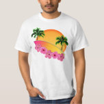 Surfboard and Hibiscus Flowers Shirt