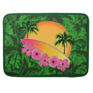 Surfboard and Hibiscus Flowers Sleeve For MacBook Pro