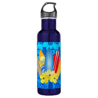 Surfboard and Hibiscus Flowers Stainless Steel Water Bottle
