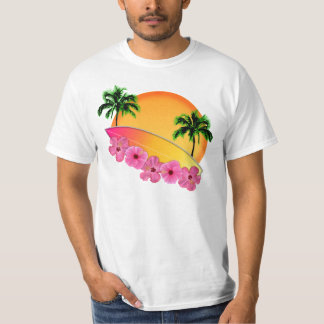 Surfboard and Hibiscus Flowers T-Shirt