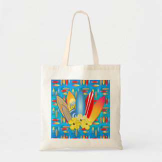 Surfboard and Hibiscus Flowers Tote Bag