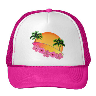Surfboard and Hibiscus Flowers Trucker Hat
