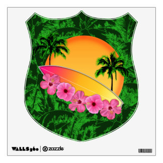 Surfboard and Hibiscus Flowers Wall Decal