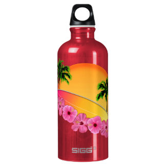 Surfboard and Hibiscus Flowers Water Bottle