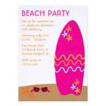 Surfboard Beach Party Invitations