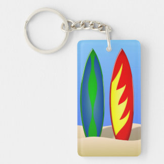 Surfboard beach retro surfer keychain