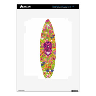 Surfboard Flower Skull Decals For iPad 3