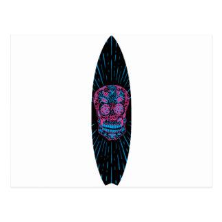 Surfboard Flower Skull Postcard