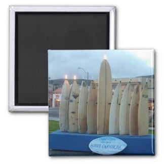 Surfboard Menorah 2 Inch Square Magnet