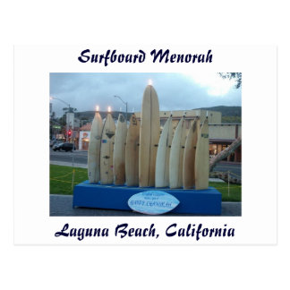 Surfboard Menorah Postcard