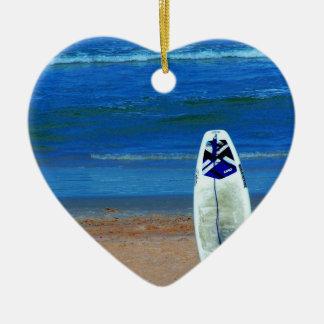Surfboard On Beach Ceramic Ornament