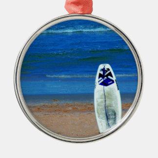 Surfboard On Beach Metal Ornament