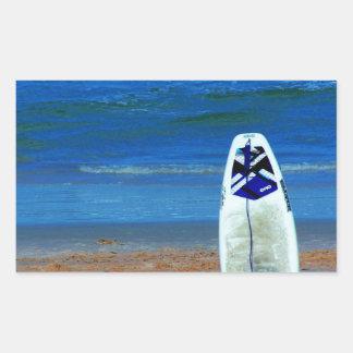 Surfboard On Beach Rectangular Sticker
