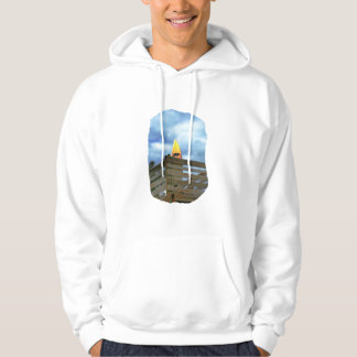 Surfboard on Boardwalk at beach against sky Hooded Pullover