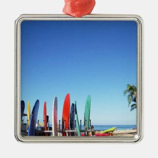 Surfboard Square Metal Christmas Ornament