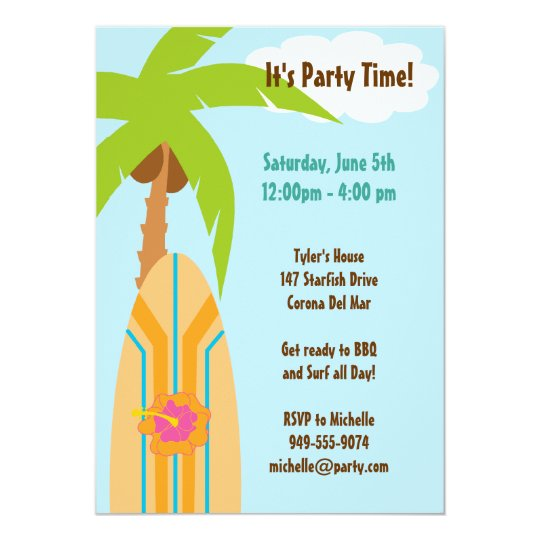 Surfboard Party Invitation