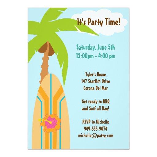 "Surfboard Party Invitation 5"" X 7"" Invitation Card"