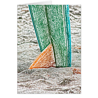 surfboard sketch on beach sea design card