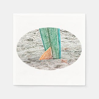 surfboard sketch on beach sea design paper napkins