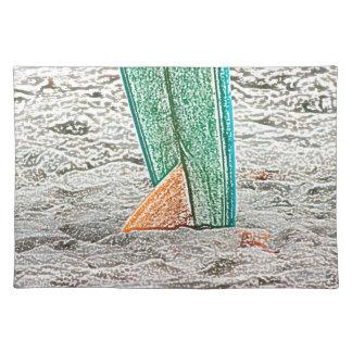 surfboard sketch on beach sea design place mat