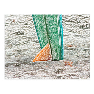 surfboard sketch on beach sea design postcard