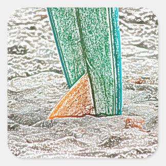 surfboard sketch on beach sea design stickers