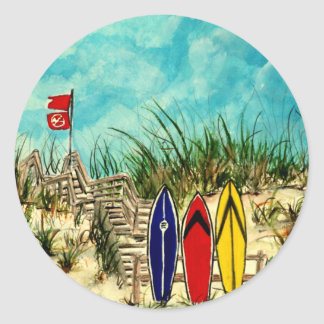 surfboard surf art red yellow and blue artwork classic round sticker
