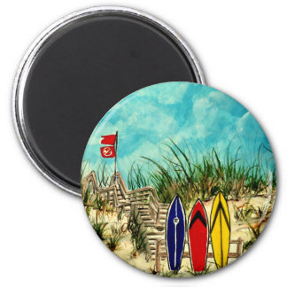 surfboard surf art red yellow and blue artwork magnet