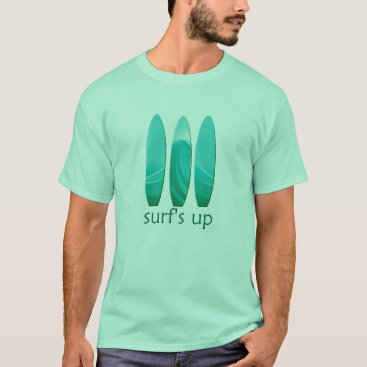 Beach Themed Surfboard Surfs Up Mens Mint Green T T-Shirt