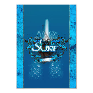 Surfboard with decorative floral elements and wat card