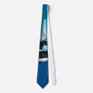 Surfboard with decorative floral elements and wat neck tie