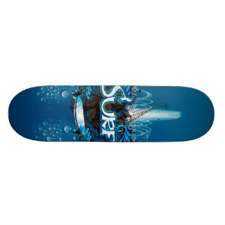 Surfboard with decorative floral elements and wat skateboard