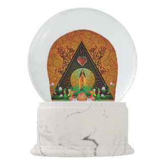 Surfboard with flowers snow globe
