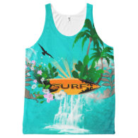 Surfboard with palm and flowers All-Over print tank top