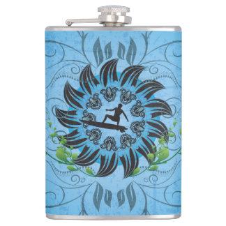 Surfboarder on blue background flask