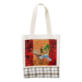 Surfboarder, tropical design with surfboarder zazzle HEART tote bag