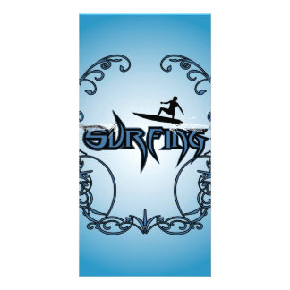 Surfboarder with decorative floral elements photo card