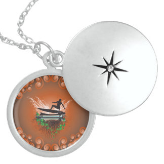 Surfboarder with grunge and leaves round locket necklace