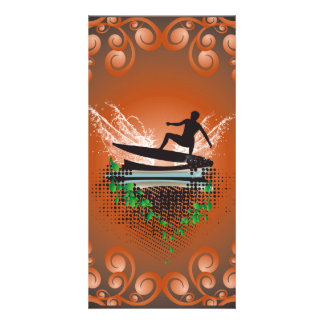 Surfboarder with grunge and leaves photo card